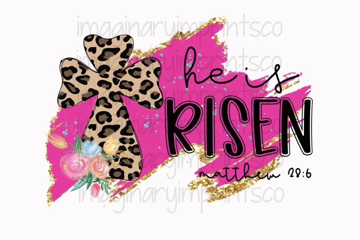 He is Risen Leopard cross png sublimation