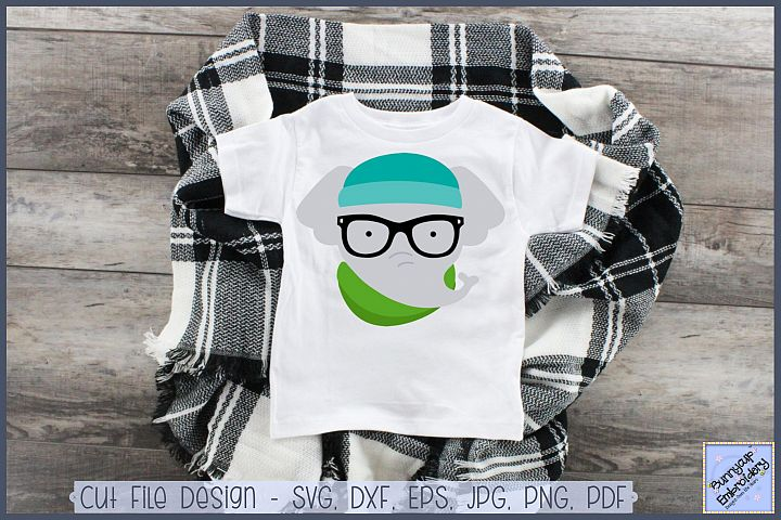 Hipster Elephant - SVG, Clipart, Printable