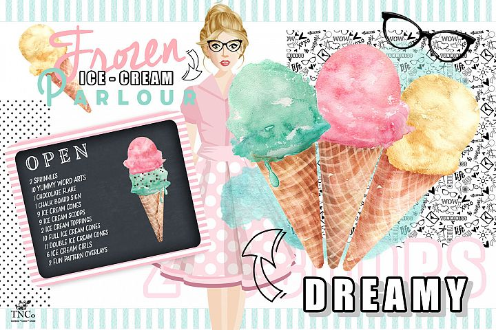 Watercolour Ice creams and Girl Graphics