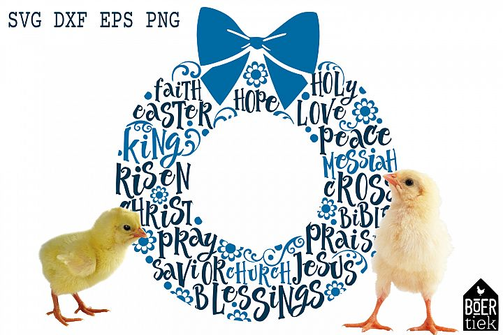 Easter wreath with typical easter words, SVG/DXF/EPS/PNG