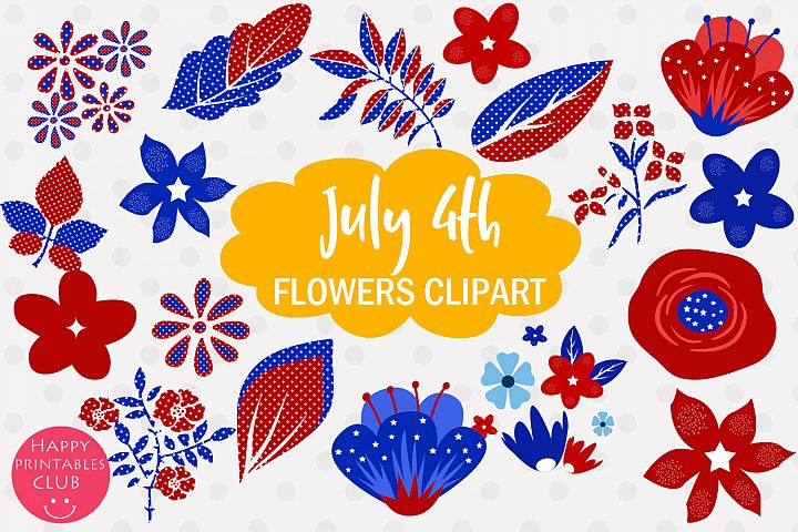4th July Flowers Clipart- July 4 Flowers Graphics Clipart
