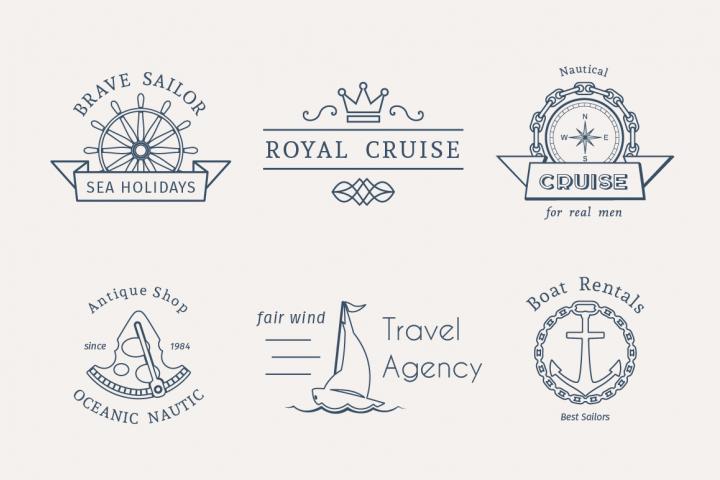 6 Retro Nautical Logo Templates