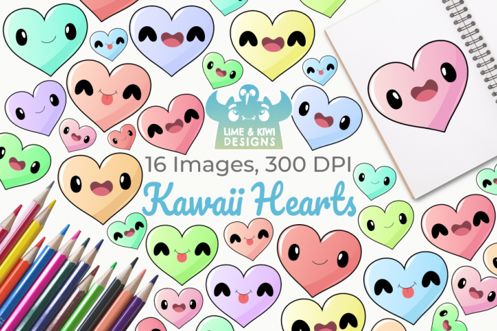 Kawaii Hearts Clipart, Instant Download Vector Art