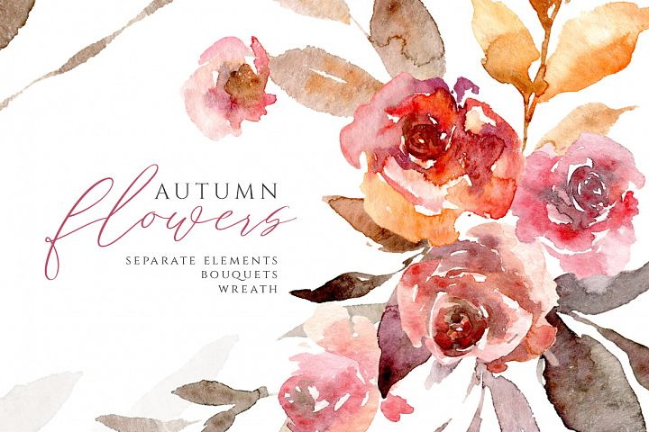 Watercolor Autumn Flowers Roses Leaves PNG