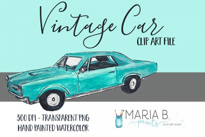 Vintage Car Watercolor Clip Art PNG