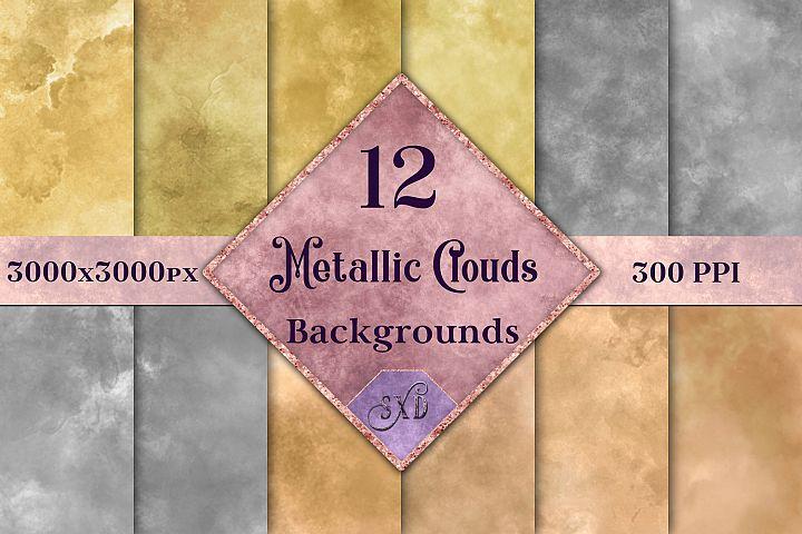 Metallic Clouds Backgrounds - 12 Image Textures Set