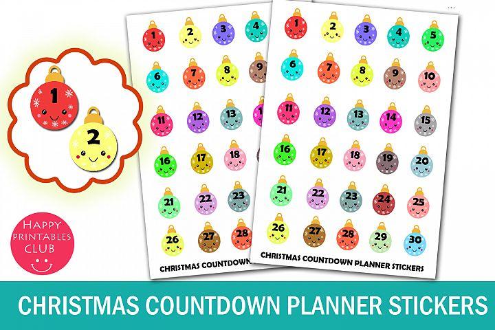 Christmas Countdown Planner Stickers-Kawaii Christmas