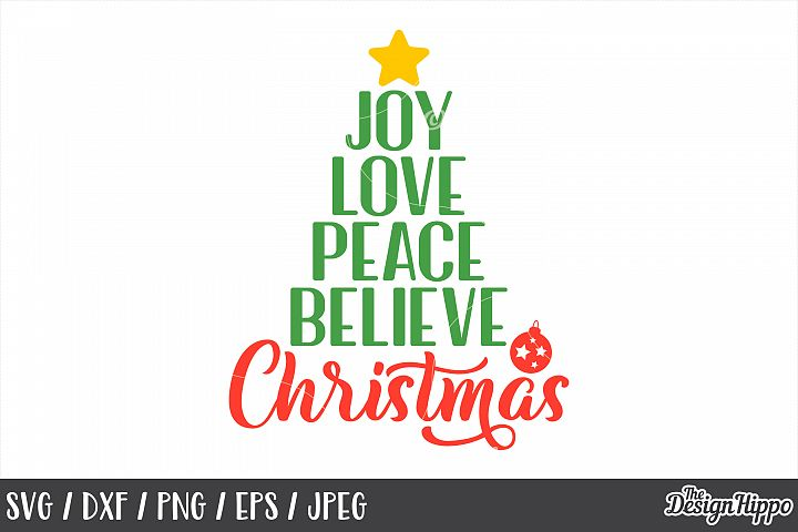 Joy Love Peace Believe Christmas, Bauble, SVG, PNG, DXF File