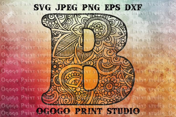 Alphabet Letter SVG, Initial svg, Zentangle SVG, Mandala svg