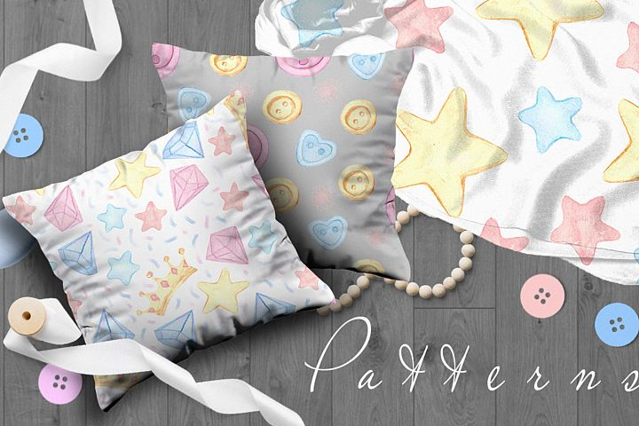 A large collection of seamless patterns. Pastel gentle stars