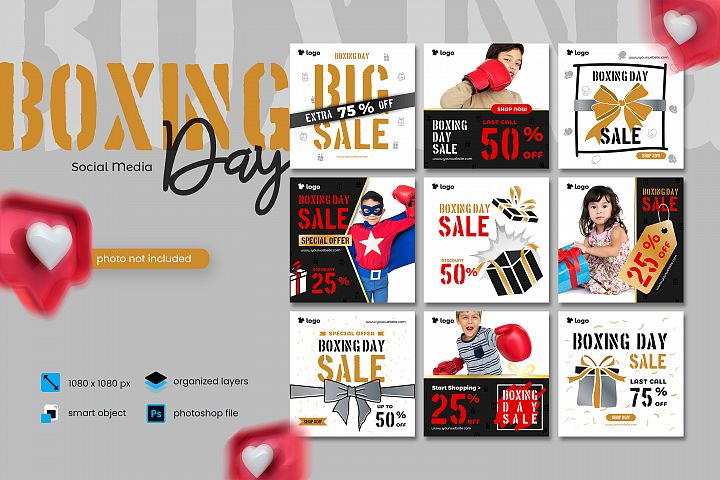 Boxing Day Sale Kids Fashion Social Media Post template 2