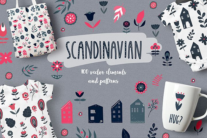 Scandinavian Houses and flower and leaves Nordic clipart