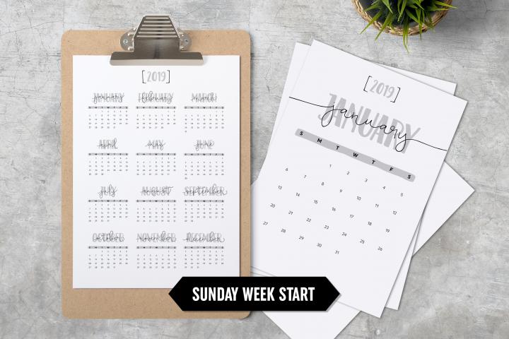 Calendar 2019 A4 Minimalistic Sunday Week Start