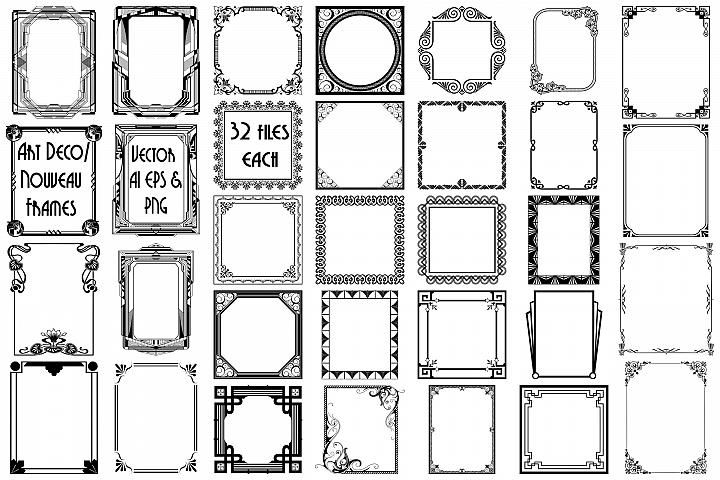 Art Deco/Nouveau Frames AI EPS PNG