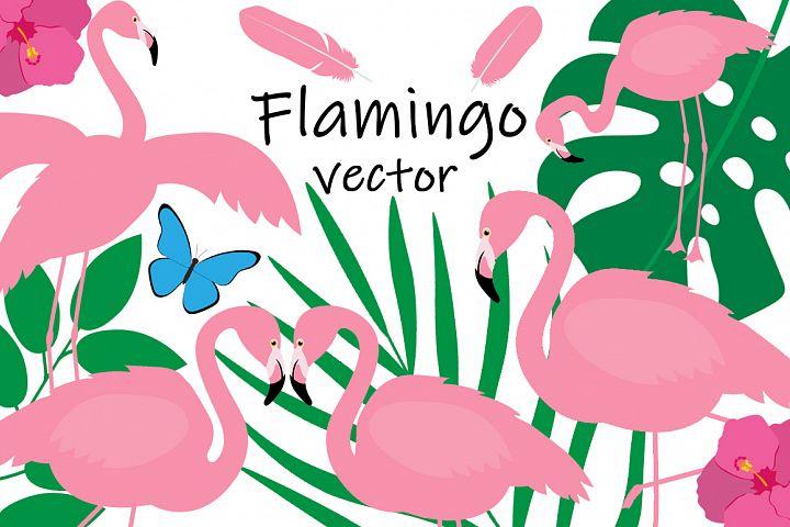 Set bird flamingo vector