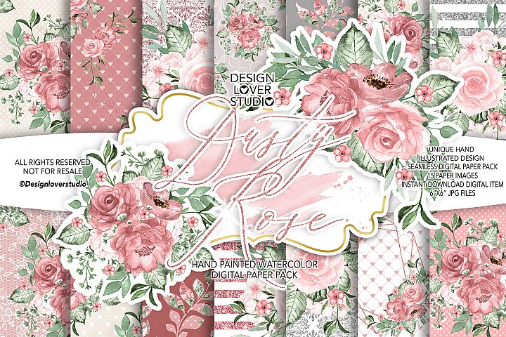 Dusty Rose digital paper pack