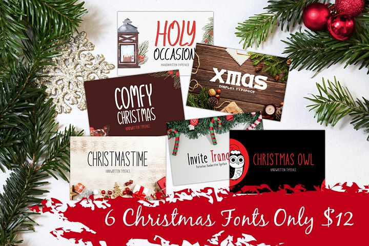 Font Bundle - 6 Christmas Fonts Only $12