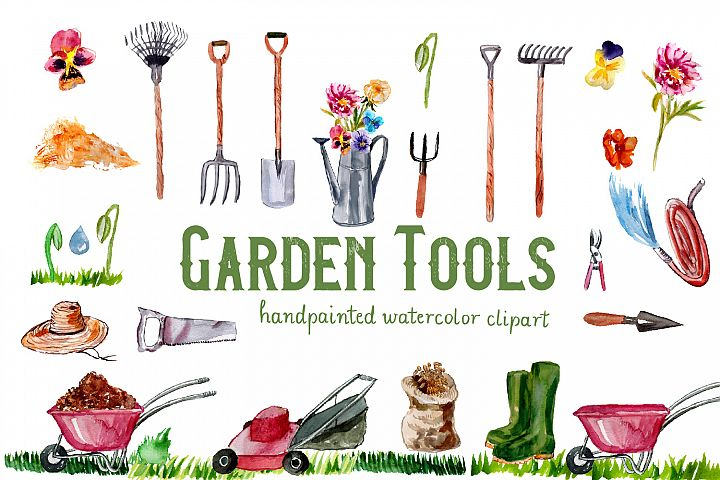 Garden Tools Watercolor Hand Painted Clipart, Spring Garden