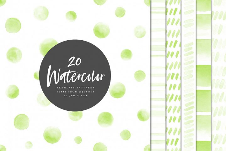 20 Seamless Watercolor Patterns Green