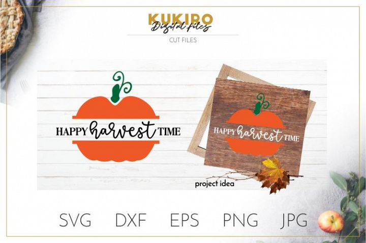 Happy Harvest time SVG - Thanksgiving SVG - Pumpkin Cut file