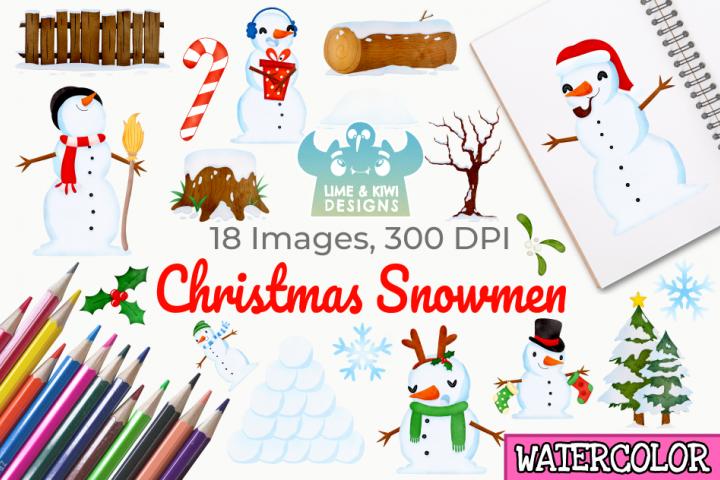 Christmas Snowmen Watercolor Clipart, Instant Download