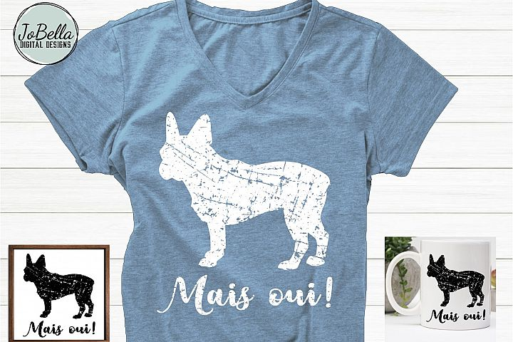 Grunge French Bulldog SVG, Printable & Sublimation Design