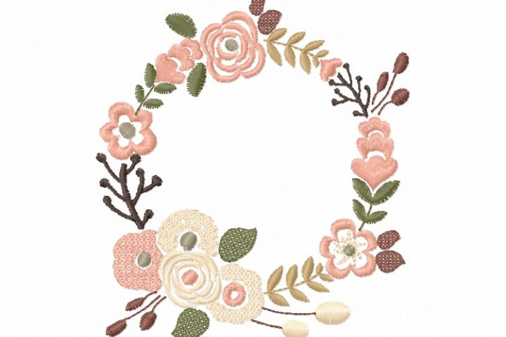 Floral Wreath Font Frame Monogram Design - EMBROIDERY DESIGN FILE - Instant download - Vp3 Hus Dst Exp Jef Pes formats 5 sizes 3,4,5,6,7inch