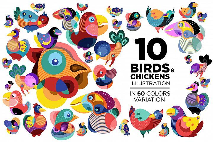 10 Birds and Chicken Illustration