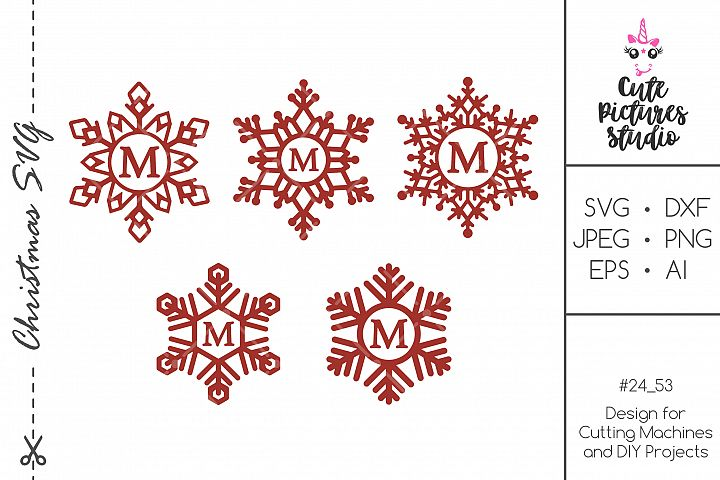 Christmas snowflake monogram frame SVG DXF bundle
