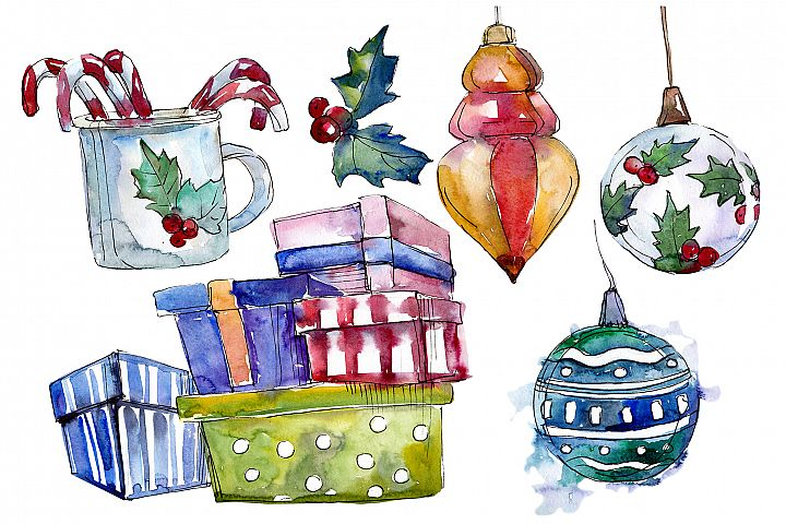 Christmas tea-drinking watercolor PNG