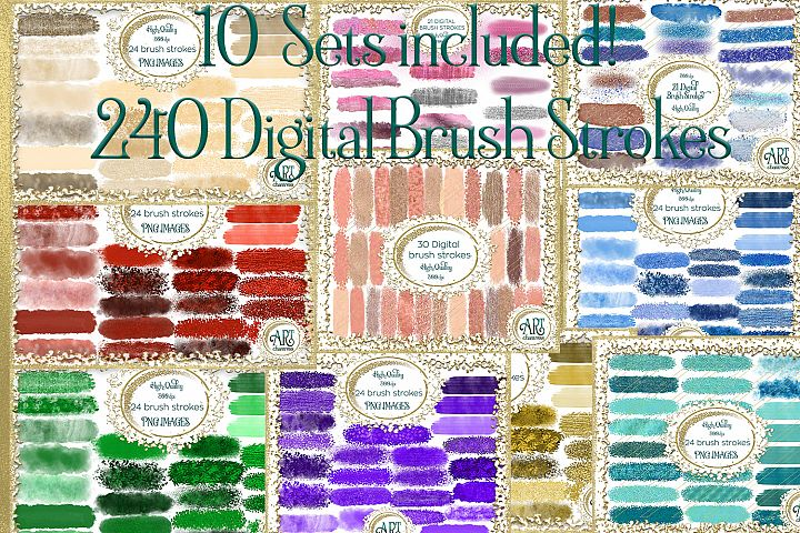 10 Set Bundle One-240 digital brush strokes graphics clipart