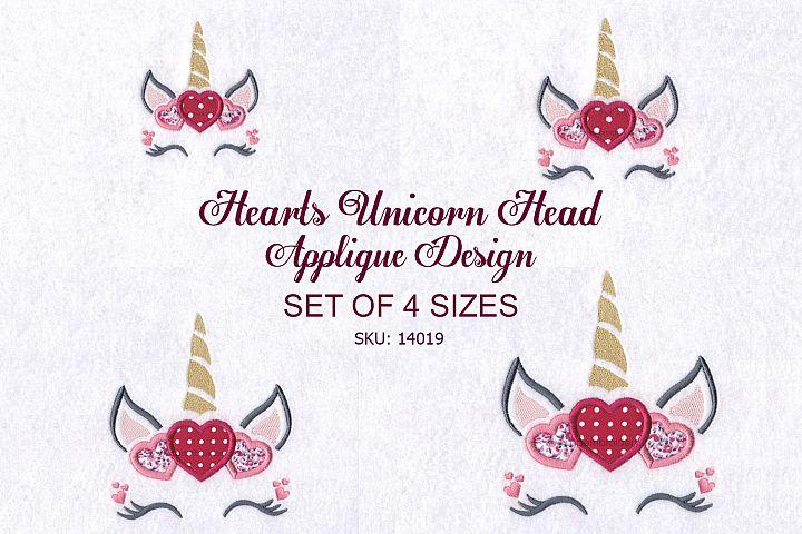 Hearts Unicorn Head Applique Embroidery Design