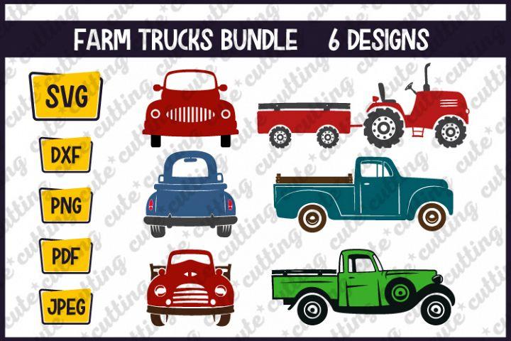 Farm trucks bundle cutting files svg, dxf, png, jpeg, pdf