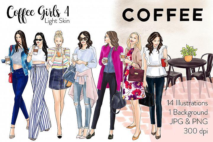 Fashion illustration clipart - Coffee Girls 4 - Light Skin
