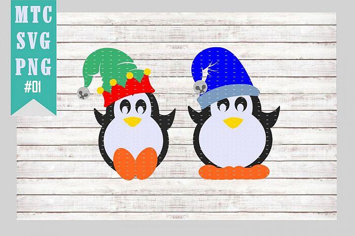 Penguins with Hats Set #01 SVG Cut File Bundle