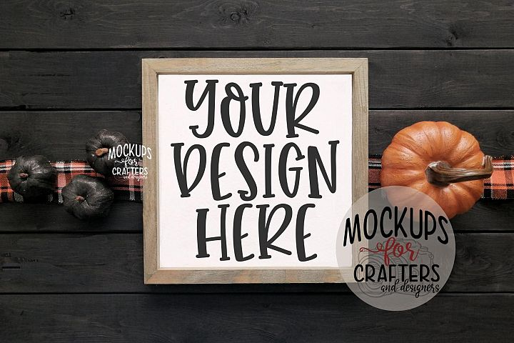 WOOD SIGN MOCK-UP Halloween theme with pumpkins