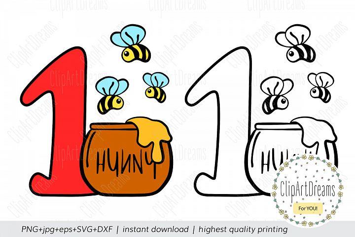 First Birthday Hunny Bee Baby Honey Pot SVG craft cut files