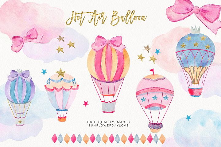 Hot Air Balloons Clipart Set, Balloons Watercolor Clipart