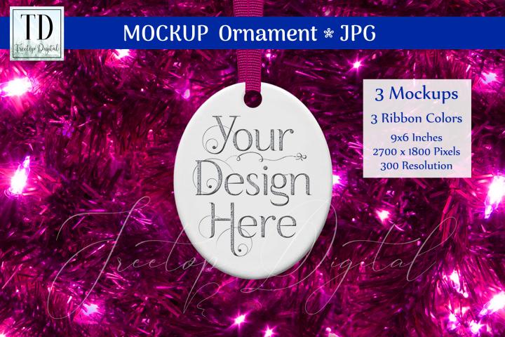 Oval Christmas Ornament Mockups, Bauble Mock-Up Pink, JPG