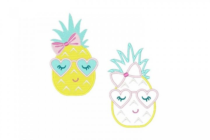 Pineapple Machine Embroidery Design Set of 2