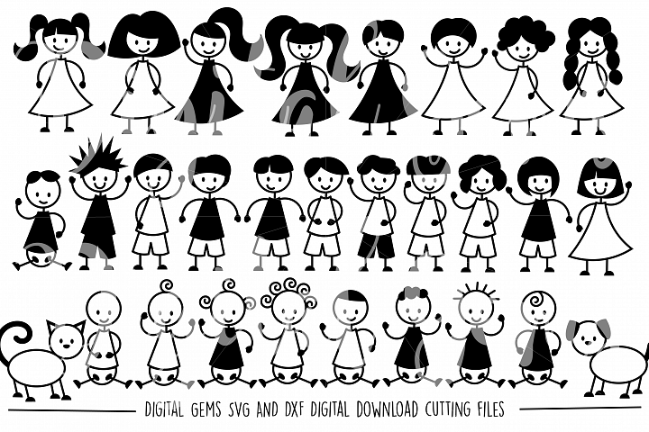 Stick People SVG / DXF / EPS / PNG Files