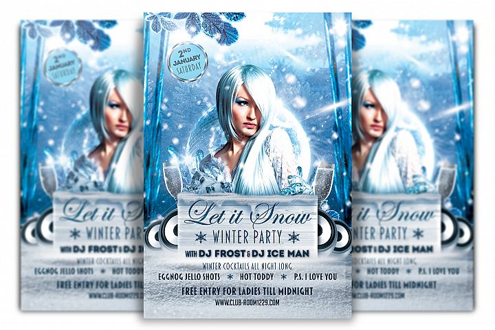 Let It Snow Winter Party Flyer Template