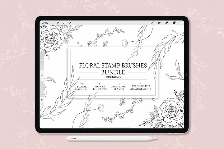 Procreate Floral Stamp Brushes, Botanical Stamp Brushes