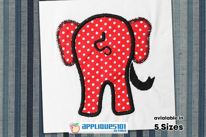 Elephant Tail Machine Embroidery Applique Design - Elephants