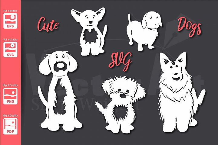 5 Cute Dogs - SVG - Cut Files for Beginners