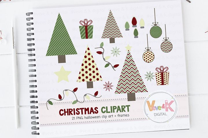 Christmas Clipart, Christmas Tree Clipart, Cute Christmas Clipart, Winter Card Overlays, Snowflakes Clipart, Holiday Clipart