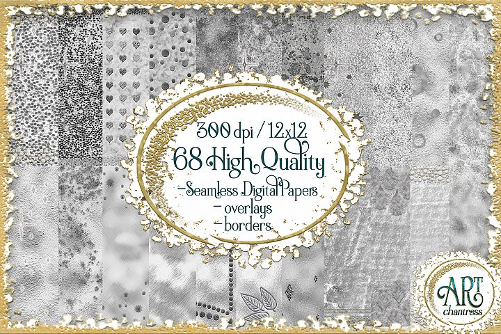 Luxury Silver Glitter Seamless Digital Papers,Border,Overlay