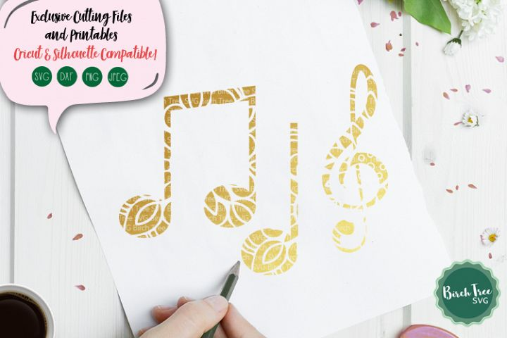 Musical Notes Svg, Floral Music Svg, Music Notes Svg File