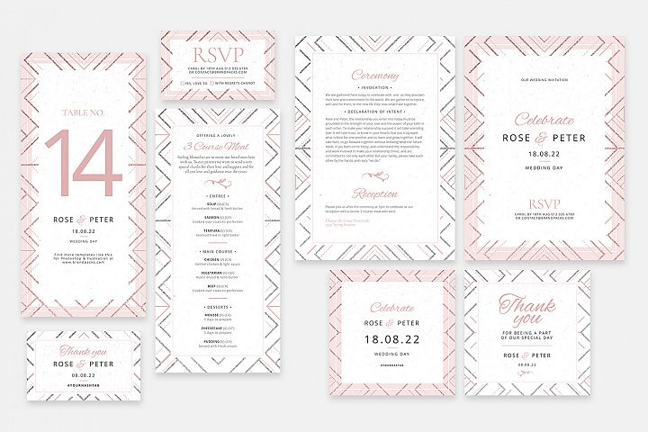 Modern Wedding Invitation Stationery