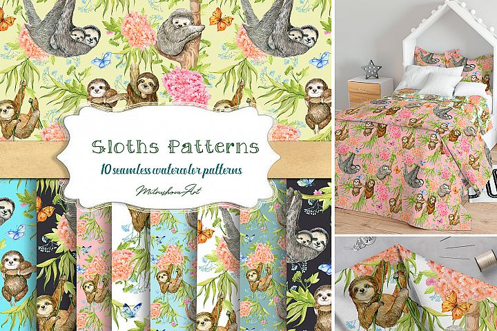 Sloths Seamless patterns